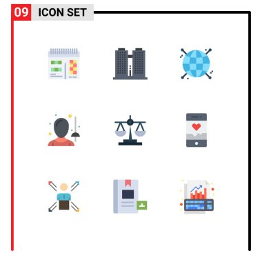 Stock Vector Icon Pack of 9 Line Signs and Symbols for law, balance, focus, sword, fencing Editable Vector Design Elements icon
