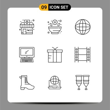 Stock Vector Icon Pack of 9 Line Signs and Symbols for gift, box, internet, pc, device Editable Vector Design Elements icon