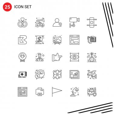 Stock Vector Icon Pack of 25 Line Signs and Symbols for sport, longboard, new, wall, security Editable Vector Design Elements icon