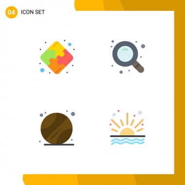 Pack of 4 creative Flat Icons of puzzle, ocean, search, ball, sunrise Editable Vector Design Elements icon
