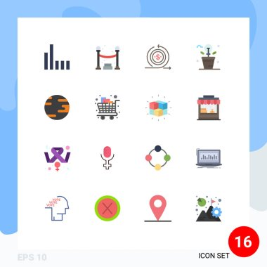 16 Creative Icons Modern Signs and Symbols of globe, plant, modern, light, fresh Editable Pack of Creative Vector Design Elements icon