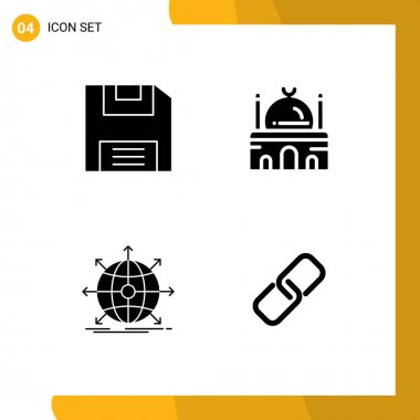 Stock Vector Icon Pack of 4 Line Signs and Symbols for diskette, global, building, muslim, network Editable Vector Design Elements icon