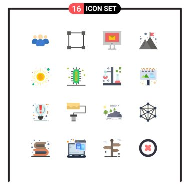 16 Creative Icons Modern Signs and Symbols of meditation, fitness, mail, mission, company Editable Pack of Creative Vector Design Elements icon
