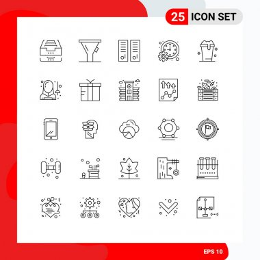 Stock Vector Icon Pack of 25 Line Signs and Symbols for time, meeting, gym locker, management, sport room Editable Vector Design Elements icon