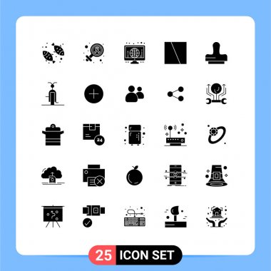 Stock Vector Icon Pack of 25 Line Signs and Symbols for press, layout, globe, interface, collage Editable Vector Design Elements icon