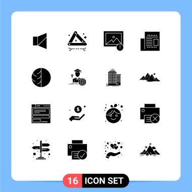 Stock Vector Icon Pack of 16 Line Signs and Symbols for dry skin, dermatologist, alert, read, newspaper Editable Vector Design Elements icon