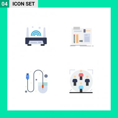 User Interface Pack of 4 Basic Flat Icons of device, computer, technology, diy, mouse Editable Vector Design Elements icon