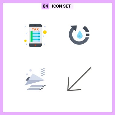 User Interface Pack of 4 Basic Flat Icons of internet banking, paper plane, drop, nature, arrow Editable Vector Design Elements icon