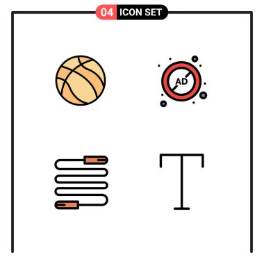 Stock Vector Icon Pack of 4 Line Signs and Symbols for ball, fitness, sport, advertising, rope Editable Vector Design Elements icon