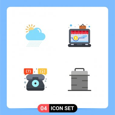 Pack of 4 Modern Flat Icons Signs and Symbols for Web Print Media such as cloud, shop, sun, shop, telephone Editable Vector Design Elements icon