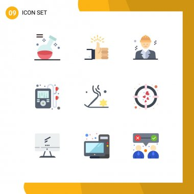 Stock Vector Icon Pack of 9 Line Signs and Symbols for beauty, player, target, music, construction Editable Vector Design Elements icon