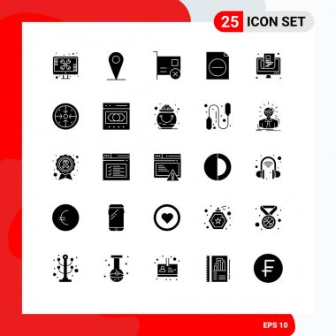 Stock Vector Icon Pack of 25 Line Signs and Symbols for newspaper, file, card, document, pci Editable Vector Design Elements icon