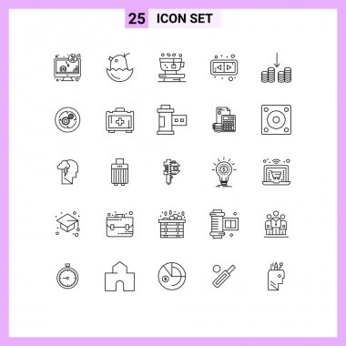 Stock Vector Icon Pack of 25 Line Signs and Symbols for cashing, horizontal, happy, flip, tea Editable Vector Design Elements icon