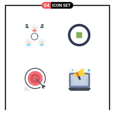 Stock Vector Icon Pack of 4 Line Signs and Symbols for company, target, people, user, goals Editable Vector Design Elements icon