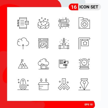 Stock Vector Icon Pack of 16 Line Signs and Symbols for cloud, first, wiping, document, aid Editable Vector Design Elements icon