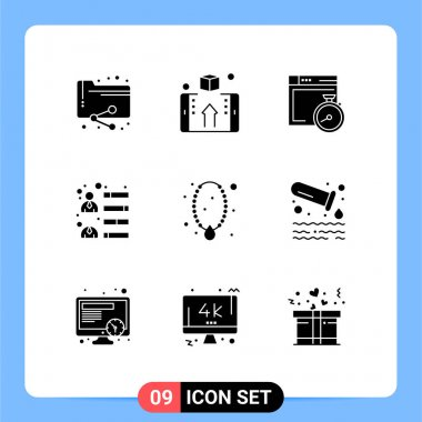 Stock Vector Icon Pack of 9 Line Signs and Symbols for jewelry, growth, shop, development, computing Editable Vector Design Elements icon