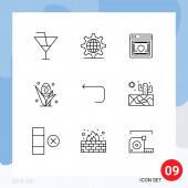 Packung mit 9 kreativen Umrissen von Pfeil, Urlaub, Netzwerk, Gras, Schild Editierbare Vektordesign-Elemente