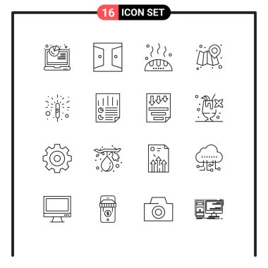 Stock Vector Icon Pack of 16 Line Signs and Symbols for fireworks, map, home gate, location, food Editable Vector Design Elements icon