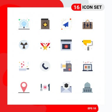 Set of 16 Modern UI Icons Symbols Signs for warining, hobby, learning, hobbies, handbag Editable Pack of Creative Vector Design Elements icon