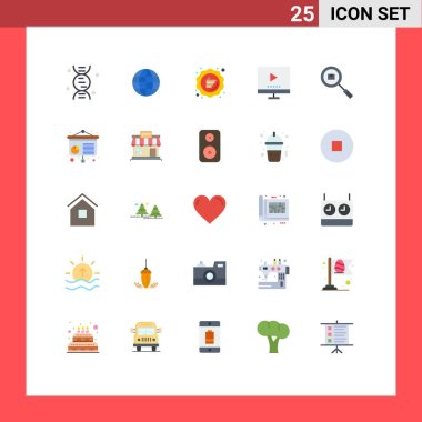 Stock Vector Icon Pack of 25 Line Signs and Symbols for box, tv, guarantee, technology, devices Editable Vector Design Elements icon