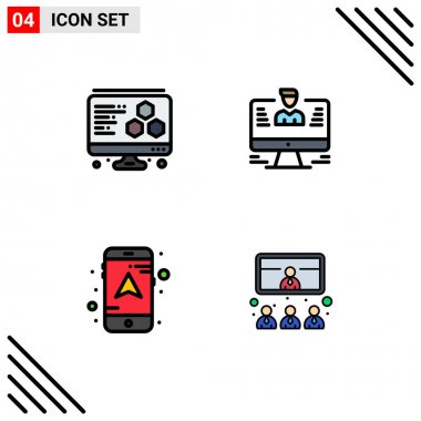 Stock Vector Icon Pack of 4 Line Signs and Symbols for printing, navigation, computer, profile, conference Editable Vector Design Elements icon