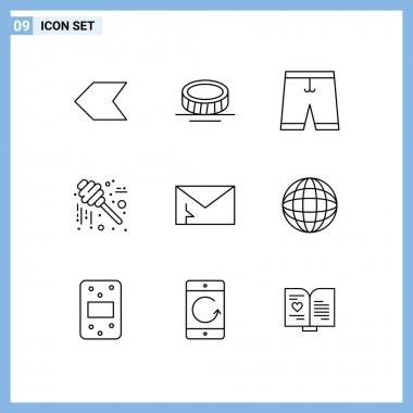 Universal Icon Symbols Group of 9 Modern Outlines of mail, alert, clothing, thanksgiving, jar Editable Vector Design Elements icon