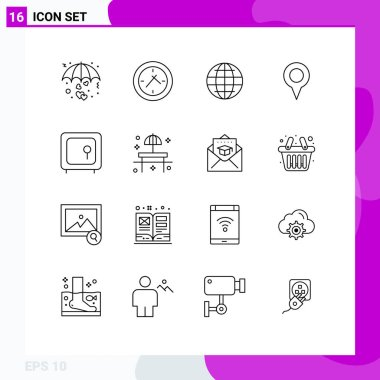 Stock Vector Icon Pack of 16 Line Signs and Symbols for box, pin, world, map, geo location Editable Vector Design Elements icon