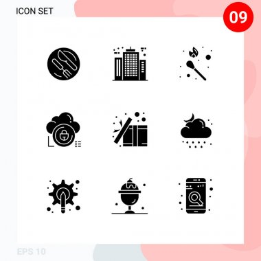9 Solid Glyph concept for Websites Mobile and Apps private, secure, construction, data, stick fire Editable Vector Design Elements