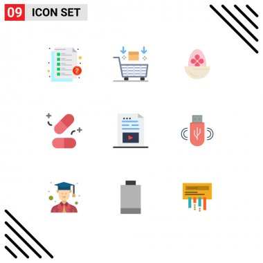 Stock Vector Icon Pack of 9 Line Signs and Symbols for science, pills, valentine, medicine, egg Editable Vector Design Elements icon