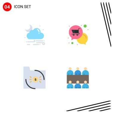 User Interface Pack of 4 Basic Flat Icons of wind, bank, weather, offer, business Editable Vector Design Elements icon