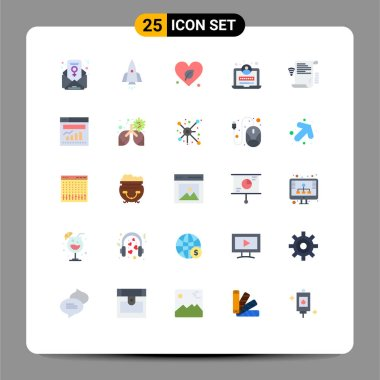 Stock Vector Icon Pack of 25 Line Signs and Symbols for presentation, data, heart, login, development Editable Vector Design Elements icon