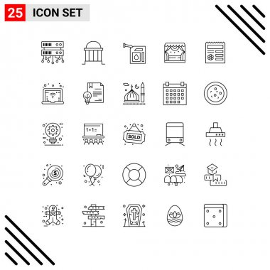 Stock Vector Icon Pack of 25 Line Signs and Symbols for ui, theater, car, stage, entertainment Editable Vector Design Elements icon