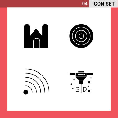 4 Universal Solid Glyphs Set for Web and Mobile Applications castle, feed, fortress, interface, rss Editable Vector Design Elements