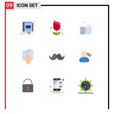 Stock Vector Icon Pack of 9 Line Signs and Symbols for scrub, housework, plent, hand, tissue roll Editable Vector Design Elements icon