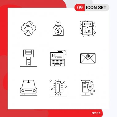 Stock Vector Icon Pack of 9 Line Signs and Symbols for digital banking, peeler, cafe, kitchenware, order Editable Vector Design Elements icon
