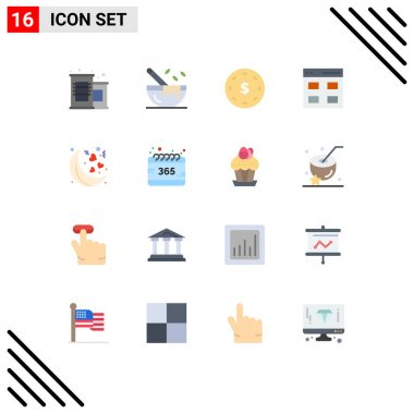 Set of 16 Modern UI Icons Symbols Signs for valentines, moon, finance, user, grid Editable Pack of Creative Vector Design Elements icon