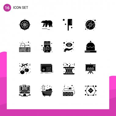Stock Vector Icon Pack of 16 Line Signs and Symbols for hardware, computer, canada, multimedia, disk Editable Vector Design Elements icon