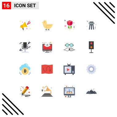 Stock Vector Icon Pack of 16 Line Signs and Symbols for music, audio, spring, party, stool Editable Pack of Creative Vector Design Elements icon