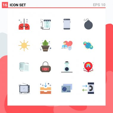 16 Creative Icons Modern Signs and Symbols of circle, explosive, water, bomb, huawei Editable Pack of Creative Vector Design Elements icon