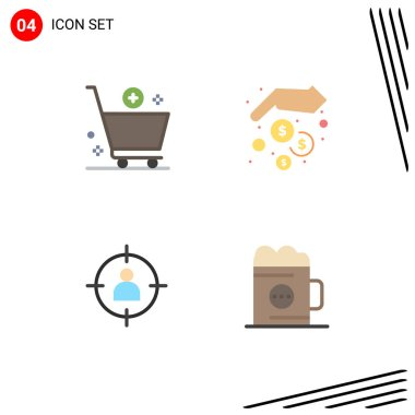 Pack of 4 Modern Flat Icons Signs and Symbols for Web Print Media such as add, human, commerce, hands, target Editable Vector Design Elements icon