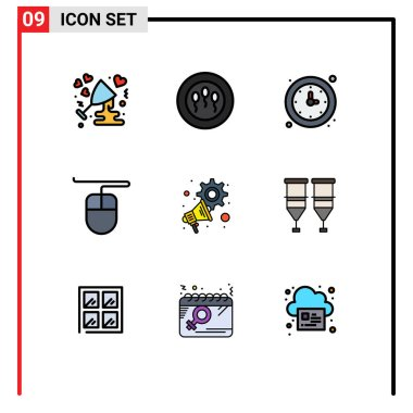 Stock Vector Icon Pack of 9 Line Signs and Symbols for megaphone, advertising, clock, mouse, watch Editable Vector Design Elements icon