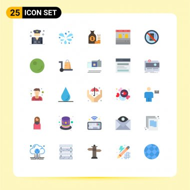 Stock Vector Icon Pack of 25 Line Signs and Symbols for avoid, garage, bag, door, savings Editable Vector Design Elements icon