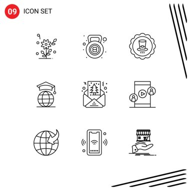 Stock Vector Icon Pack of 9 Line Signs and Symbols for christmas, graduation, glass, online, globe Editable Vector Design Elements icon