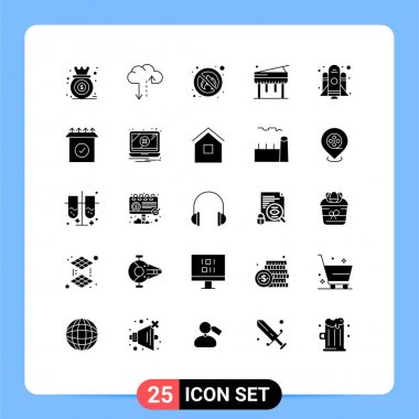 Stock Vector Icon Pack of 25 Line Signs and Symbols for startup, rocket, fighter, piano, education Editable Vector Design Elements icon