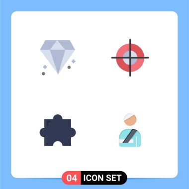 4 User Interface Flat Icon Pack of modern Signs and Symbols of diamond, plugin, aim, target, user Editable Vector Design Elements icon