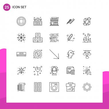 Stock Vector Icon Pack of 25 Line Signs and Symbols for business, supplies, shop, ruler, organizer Editable Vector Design Elements icon
