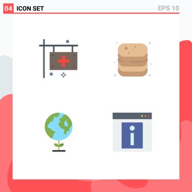 Editable Vector Line Pack of 4 Simple Flat Icons of care, shop, health, canned, ecology Editable Vector Design Elements icon