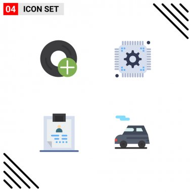 User Interface Pack of 4 Basic Flat Icons of add, clipboard, disc, setting, health Editable Vector Design Elements icon