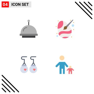 Set of 4 Commercial Flat Icons pack for alarm, accessories, paint brush, egg, fashion Editable Vector Design Elements icon