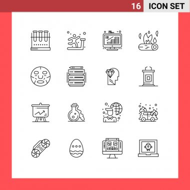 Stock Vector Icon Pack of 16 Line Signs and Symbols for fire, camp fire, treadmill, bonfire, growth Editable Vector Design Elements icon